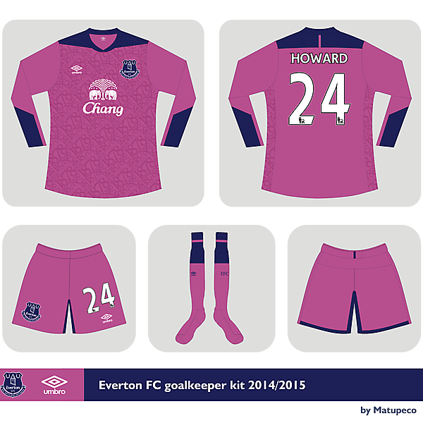 Everton FC Umbro goalkeeper kit 2014/2015