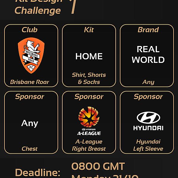 Kit Design Challenge: 1 - Brisbane Roar Home Kit