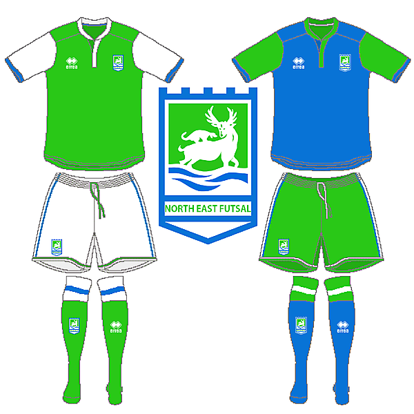 North East Futsal Crest and Kits V.4