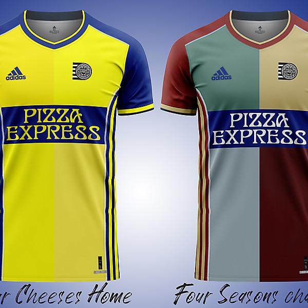 Pizza Express: maglia casalinga quattro formaggi, cambio camicia quattro stagioni.