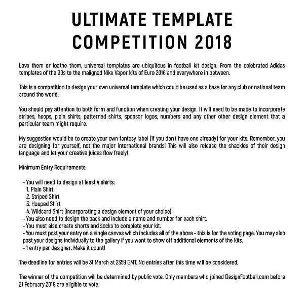 Ultimate Template Competition - 2018 (Closed)