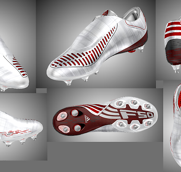 Adidas F50i White Metallic Silver/Red