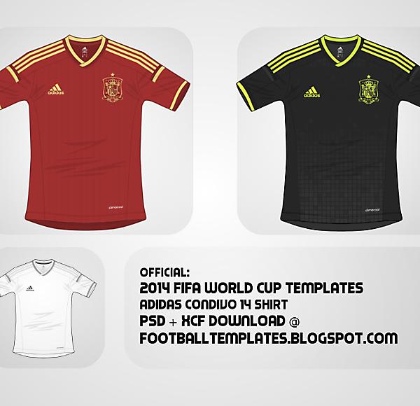 2014 Adidas Condivo 14 Template + Spain Home / Away