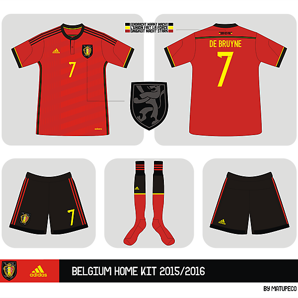 Belgium home kit adidas 2015 - 2016