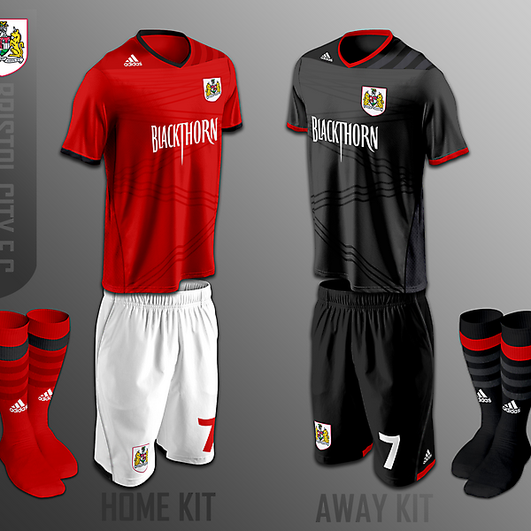 Bristol City FC home and away fantasy kits