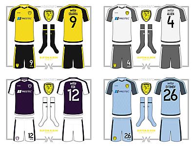 Burton Albion Home, Away, Third, GK Kits