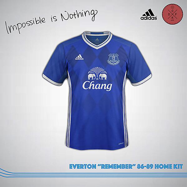 """Everton """"Remember"""" 86-89 Home Kit"""