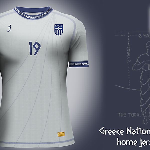 Greece home jersey by J-sports
