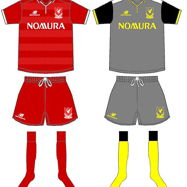 Liverpool Home and away kits 2015/16