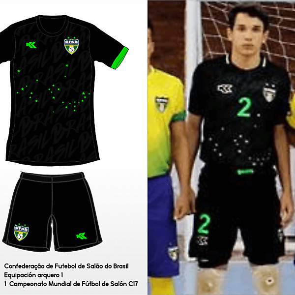 Seleçao Brasileira Futsal. C17 AMF World Cup GK kit