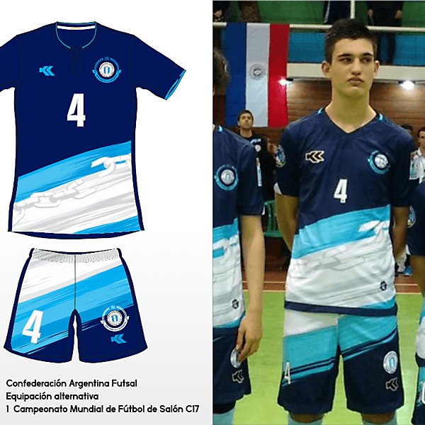 Selección Argentina Futsal. C17 AMF World Cup away kit