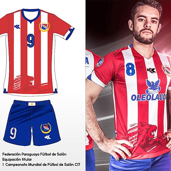 Selección Paraguaya Futsal. C17 AMF World Cup Home kit