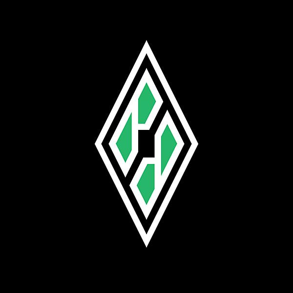 Borussia Moenchengladbach B/M inside iconic diamond  logo concept