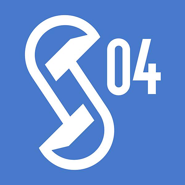 FC Schalke 04 Gelsenkirchen logo concept features opposite miners hammers.